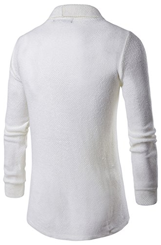 Whatlees Unisex Hip Hop Urban Basic Lang geschnittene Schlichte Strickjacke Cardigan B338-White