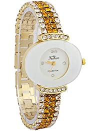 Fashion Oval Shape White Dial And Silver And Yellow Crystal Studded Strap Watch For Women