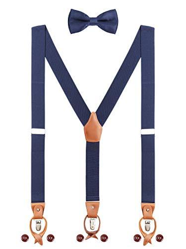 2-knopf-rock-anzug (Herren Hosenträger Fliege Set 2 WAY TO WEAR 6 Leder Knopfloch 3 Clips Y-Form 3,5cm Breit Verlängerte Hosenträger für Körpergröße 160-200cm - Navy Blau)