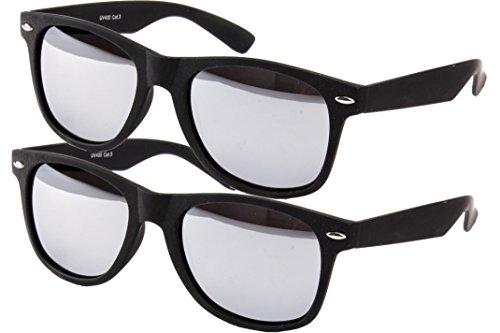 2 er Set EL-Sunprotect Sonnenbrille Nerdbrille Brille Nerd Matt Gummiert Schwarz Silber Verspiegelt
