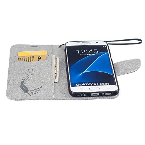 Galaxy S7 Edge Hülle,Galaxy S7 Edge Schutzhülle,Galaxy S7 Edge Case,Galaxy S7 Edge Leder Wallet Tasche Brieftasche Schutzhülle,ikasus® Prägung Klee Blumen Muster PU Lederhülle Flip Hülle im Bookstyle  Feder Vögel:Grau