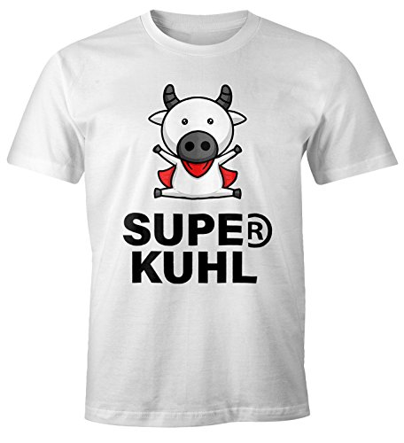 MoonWorks Lustiges Herren T-Shirt Tier-Motiv Super Kuhl Kuh Fun-Shirt Weiß - Cape Mit T-shirt Superman