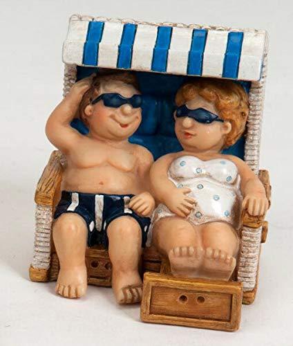 dekojohnson Urlauber-Paar Touristenpaar Mini Deko Pärchen Strand-Korb Mann Frau Wohnung Ostsee Blau/Weiß Maritim 8cm