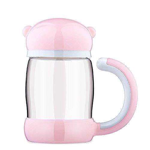 Glas Tasse Getränke Tassen trinken Tasse Tee infuser Becher Kantine klassische Sammlung-Wasser-Flasche Edelstahl trinken Tumbler mit einfach-sauberen Deckel ( Capacity : 420ml/280ml , Color : Pink ) Sauberes Wasser Stroh