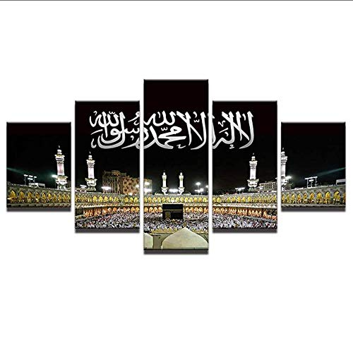 hhlwl Wandkunst Bilder Home Decor Rahmen Moderne HD Drucke 5 Panel Islamische Moschee Schloss Malerei Allah Der Koran Leinwand Poster-40x60/80/100cm-no frame