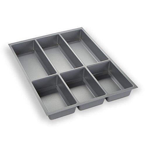 ORGA-BOX® III Besteckeinsatz Besteckkasten silbergrau für 45er Schublade z.B. Nobilia ab 2013 (473,5 x 344 mm)