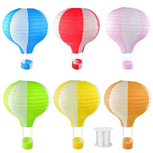 heliltd 6pcs hängende Papierlaternen, Heißluft-Ballon-Form-Laternen mit hängender Linie für Partei-Geburtstags-Hochzeits-Weihnachtsdekoration