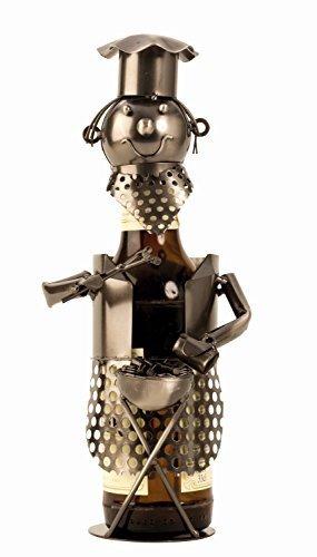 Moderner Bier Flaschenhalter Grillmeister aus Metall Höhe 28 cm