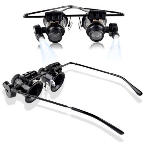 MMOBIEL 20 fache Vergrößerung Lupenbrille Lupe Brille Brillenlupe Vergrößerungsglas Linse Juwelier Uhrmacher Handwerk Nähen Elektriker Reparatur mit 2 x LED - Briefmarken überprüfen