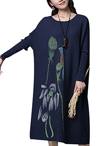 Youlee Donna Inverno Autunno Collare rotondo Maglione Vestito Navy di stile 2