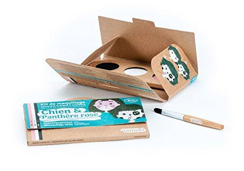 NAMAKI - Make-up-Set für Kinder - 3 Farben für das Gesicht - Hund und Rosa Panther - Pink Weiß Schwarz - Mit Pinsel - Natürliche und hypoallergenen Farben - 7,5 g