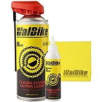 KIT LUBE manutenzione WalBike pulitore per detergere sgrassare e lubrificare la catena e il gruppo cambio di ogni tipo di bici con panno in microfibra per pulizia bici