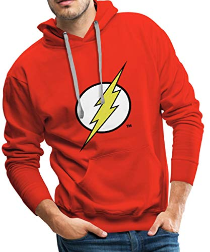 Spreadshirt DC Comics Justice League Flash Logo Männer Premium Hoodie, M, Rot