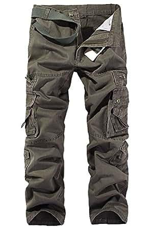 Menschwear Allentare Pantaloni da Uomo Sportivi Casuale Pantaloni Cargo Stile Militare Cintura Incluso (34,marrone)