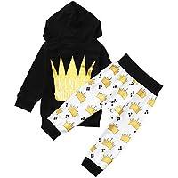 Babykleidung Satz, LANSKIRT Neugeborenen Baby Boy Krone Brief Tops Kapuzenpullover + Hosen Outfits 2er Set Kleidung 0-24 Monate