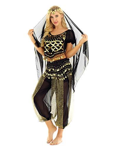 Bauchtänzerin Münze (YOOJIA Damen Bauchtanz Kostüm Set Indische Tanz Kleidung mit Münzen 4-teilig, mit Oberteil, Hose, Hüftschal, Schleier Karneval Kostüm Schwarz One Size)