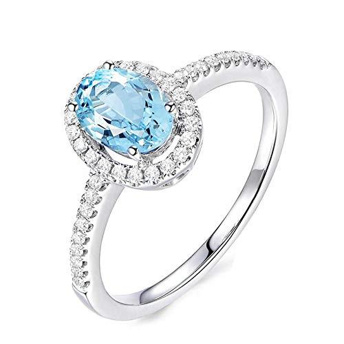 Anyeda 925 Sterling Silber Ringe für Damen Ovale Form Blauer Topas Weißgold Ovale Ewigkeit...