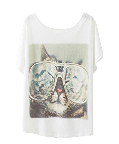 Luna et Margarita Damen Weiss Fledermaus-Shirt mit Baumwolle und Stoffdruck in der gleichen Größen 59cm. cool Katze mit größe Brille