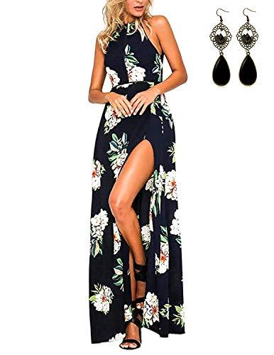 20f569a9d MODETREND Mujer Vestido Largo de Sin Mangas Escotado por Detrás Maxi Vestidos  Playa Playero Vacaciones y