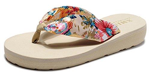 EOZY Damen Sommer Zehentrenner Seiden Flops Blumen Pantoffeln M7