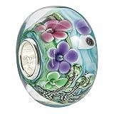 MATERIA Original 925 Silber Murano Beads Blumen Sommer Element türkis/blau aus edlem Muranoglas 12x15mm #1433