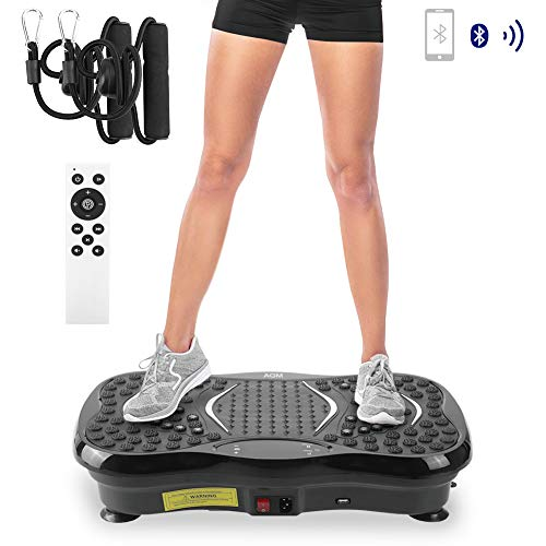 AGM 3D Vibrationsplatte, VP 200 Profile Vibrationsgerät Fitness mit 3D Wipp Vibration Plate Ganzkörper Trainingsgerät mit Bluetooth, Lautsprecher, Trainingsbänder, LCD Display und Fernbedienung