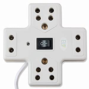ELV Extension Board 6 Amp 4 Plug Point with Master Switch, LED Indicator, Extension Cord (4.8 Meter) - White