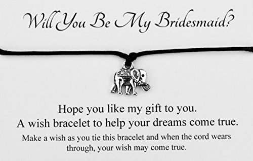 Will You Be My Bridesmaid Wedding Elephant Charm Wish Bracelet Card Gift Bag Friendship charmed Bracelet Party Favour(Hand made in UK) (Black)