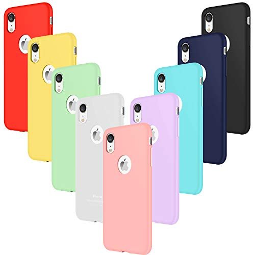 9× Custodia iPhone XR Cover Silicone (NON per XS MAX o XS), Leathlux Sottile Morbido TPU Custodie Protettivo Cover per iPhone XR 6.1' Rosa, Verde,Porpora,Blu,Giallo,Rosso,Blu scuro,Traslucido,Nero