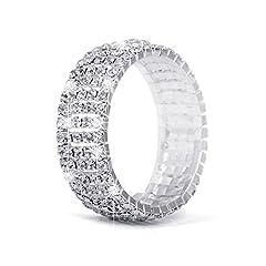 Idea Regalo - Strass bracciali per donna, placcato argento, braccialetto elastico per matrimoni, balli, feste o spettacolo