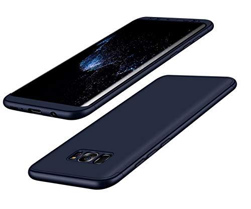 Samsung S8 Plus Hülle 360°Schutzhülle PC Shell Anti-Schock Shockproof Ganzkörper Schützend Anti-Kratz Stoßfänger 360 Grad Full-Cover Case Matte Schutzkasten 3 in 1(Blue)