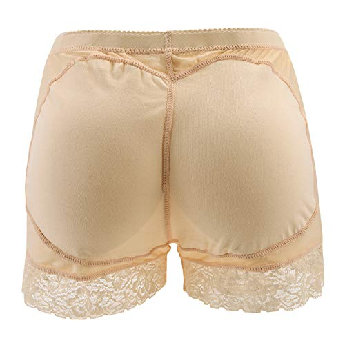 StarTreene Damen Push Up Unterhosen Unterwäsche Panties Hipsters Miederhose Shapewear Nahtlos Normaler Bund Padded Höschen EU38 Aprikose - 2