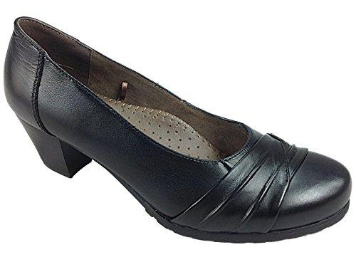 Ladies Cushion Walk Black Leather Mid Block Heel Mary Jane Slip On...