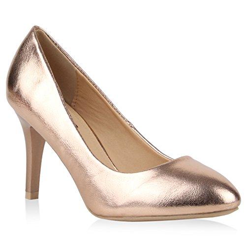 Stiefelparadies Klassische Damen Lack Pumps Elegant Abend Metallic Schuhe 110517 Bronze 41 Flandell