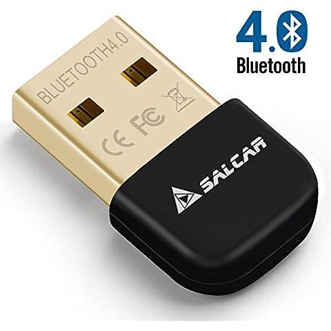 Salcar USB Bluetooth V4.0 Adaptador de red, Tecnología Class 4.0, El estándar más moderno, Plug & Play, Compatible Windows 10, CSR Chip, Rango 20 m