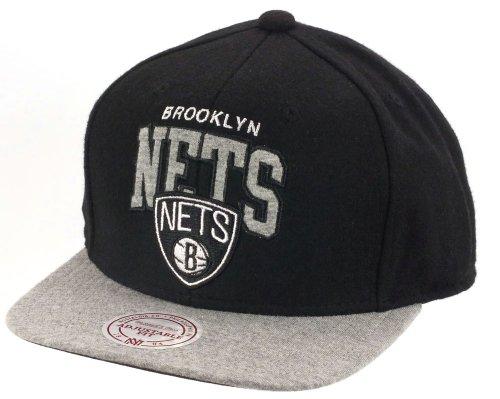 Brooklyn Nets NBA Noir / Gris Melton Jersey Mitchell & Ness Snapback Casquette de baseball Taille Casquette Ajustée