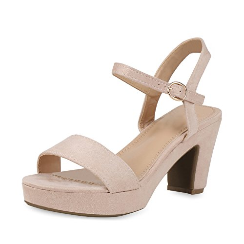 mps Plateau Sandaletten Party High Heels Wildleder-Optik Schuhe Elegante Partyschuhe Abendschuhe Absatzschuhe 158294 Nude 38 ()