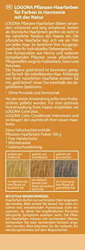 LOGONA Naturkosmetik Coloration Pflanzenhaarfarbe, Pulver - 010 Goldblond - Blond, Natürliche & pflegende Haarfärbung (100g) - 2