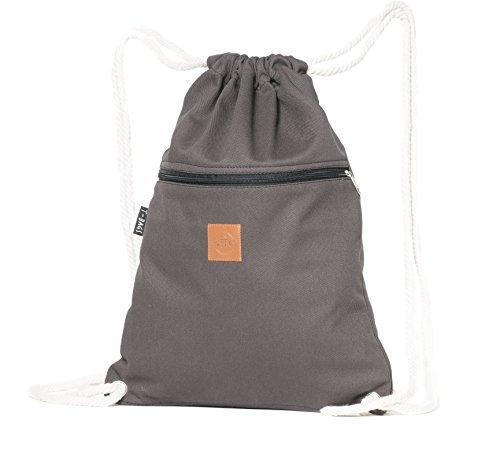 Original ♡ T-BAGS Thailand Turnbeutel Hipster | 18 coole Designs | mit Reißverschluss | Baumwoll Beutel mit hohem Tragekomfort (Grau)