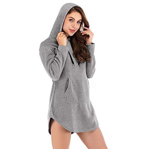 iHENGH Top Damen,Women Herbst Casual Hoodie Solid Sweatshirt Lange Ärmel unregelmäßiger Pullover Top Bluse T Shirt Pullover Crop Tops Damen Mode - Hunter Sweatshirt Jumper