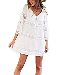 Gaddrt Women Dress Summer Three Quarter Sleeve Loose Lace Boho Beach Short Mini Dress, Polyester
