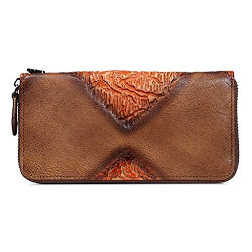 Dream Tissa Damen lange Abschnitt Wallet Card Package Vintage geprägtes Leder Clutch (Color : Brown, Size : 19 * 2.5 * 10)