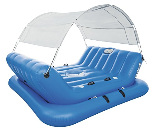 Bestway 43134 - Flotador Bestway Collerz Rock-N-Shade Isla Hinchable con techo desmontable y respaldo integrado (272 x 196 cm)