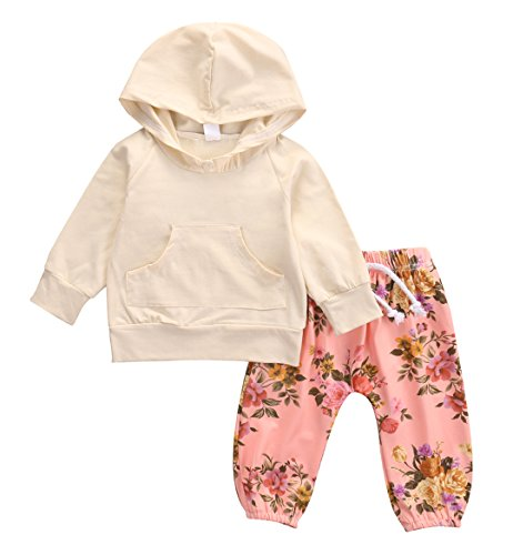 Newborn Baby Girls Warm Hoodie T-shirt Top + Floral Pants Outfits Set Kids Clothes (6-12M, Beige)