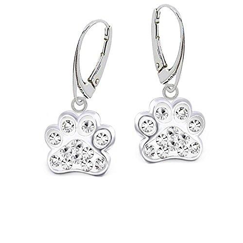 Kristall Pfötchen Pfote Brisur Mädchen Ohrringe 925 Echt Silber Kinder Ohrhänger (Kristallklar) (Gold Baby-mädchen Charms)