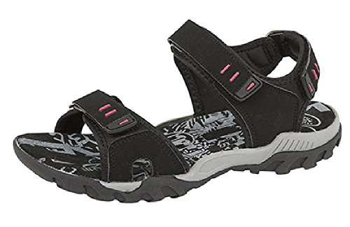 ladies-womens-pdq-pink-grey-adventure-trail-walking-velcro-sports-sandals-black-6-uk