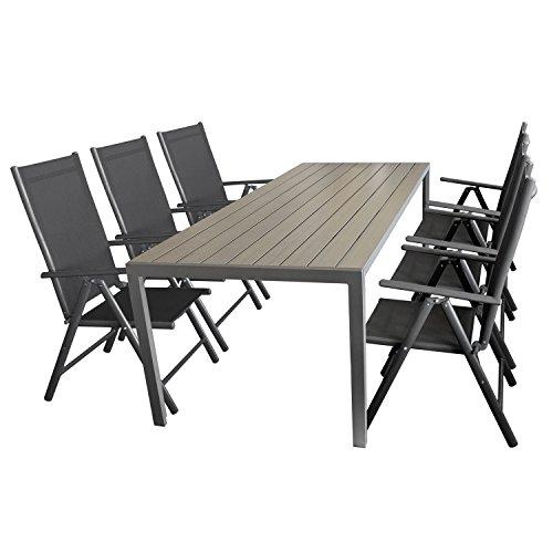 Ensemble de jardin table de jardin aluminium polywood gris, 205x90cm + 6x chaise pliable textile aluminium noir anthracite 7 positions de réglage