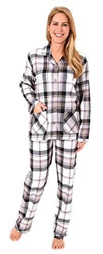 Damen Flanell Pyjama Schlafanzug in edlen Karodesign - -auch in Übergrössen 201 95 243, Farbe:grau, Größe2:36/38 - Rose Flanell-pyjama