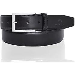 LUCHENGYI Clásico Cinturón de Piel Lisa con Pespuntes para Hombres en Cuero Negro con Hebilla Rectangular Libre de Níquel de 35mm 85cm