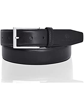 LUCHENGYI Clásico Cinturón de Piel Lisa con Pespuntes para Hombres en Cuero Negro con Hebilla Rectangular Libre...